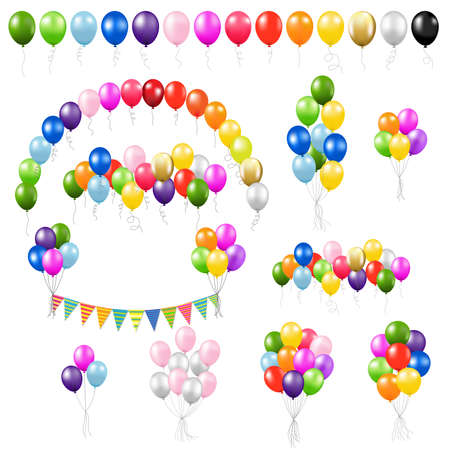 Big Colorful Set Balloons Isolated