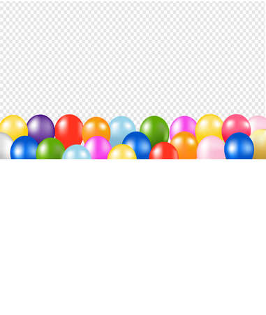 Colorful Balloons Border With Transparent Background With Gradient Mesh, Vector Illustration