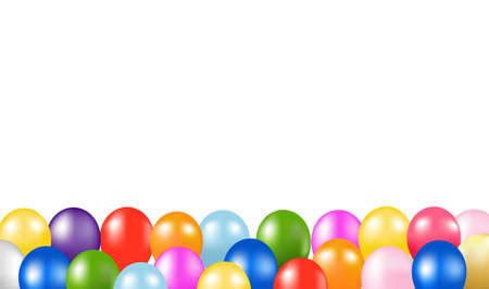 Colorful Balloons Border With White Background Vettoriali