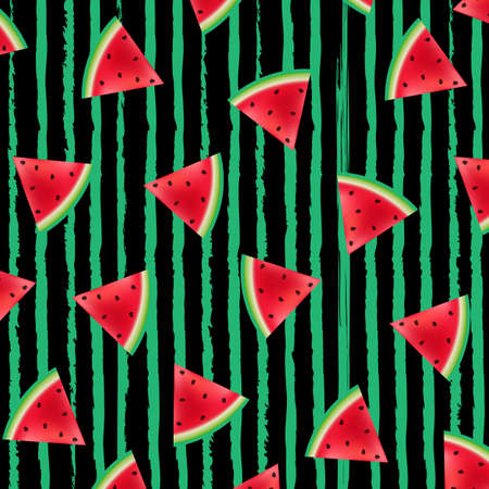 Black Striped With Watermelons Background
