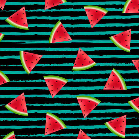 Black Striped With Watermelon Background