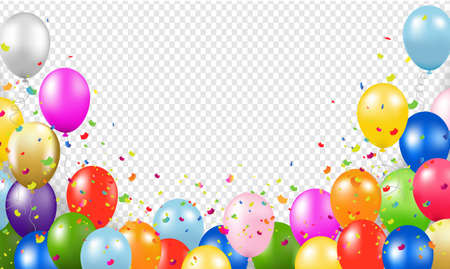 Happy Birthday Banner With Balloons Transparent Background Vettoriali