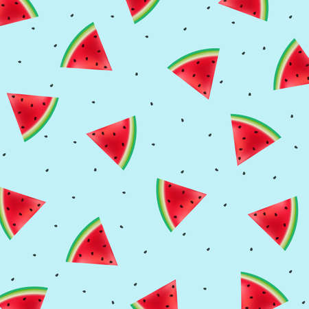 Poster With Watermelons Blue Background