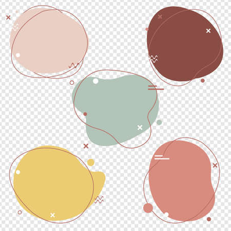 Simple Pastel Speech Bubbles Set Isolated With Transparent Background