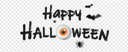 Happy Halloween Text With Transparent Background