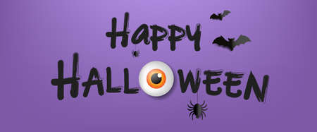 Happy Halloween Text With Violet Background