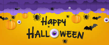 Happy Halloween Text With Orange Background