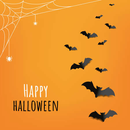 Happy Halloween Card With Orange Background Illusztráció