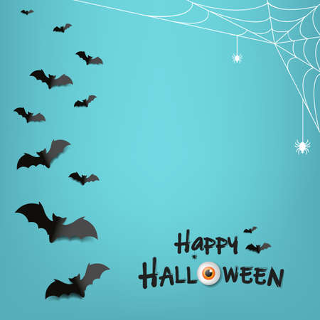 Happy Halloween Text With Mint Background