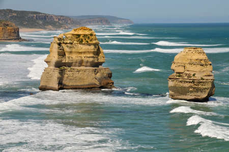 Eroded rock formations at the Twelve Apostles on the Great Ocean Road, Australia photo
