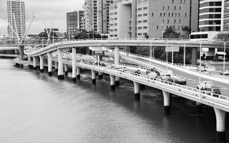 Brisbane, QLD, Australia - August 26, 2011: Riverside Expressway on the Brisbane River at Brisbane CBD