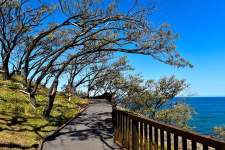 Gorge Walk wooden pathway with ocean view on North Stradbroke Island, Queensland, Australia Stock Photo