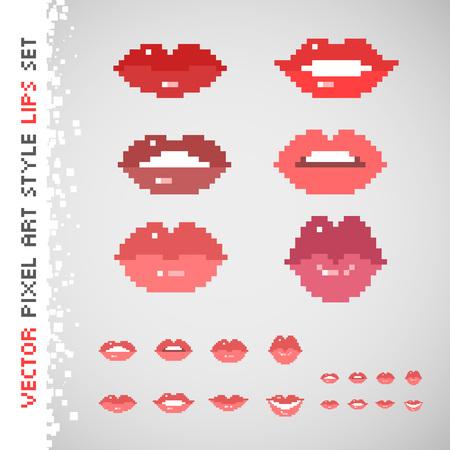 픽셀 아트 스타일의 서로 다른 색상의 입술 설정