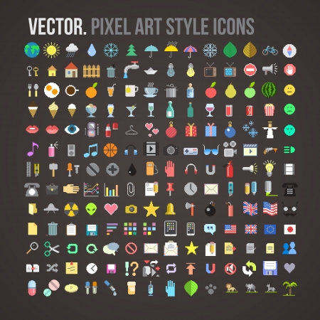 flat earth:  color pixel art style icons set