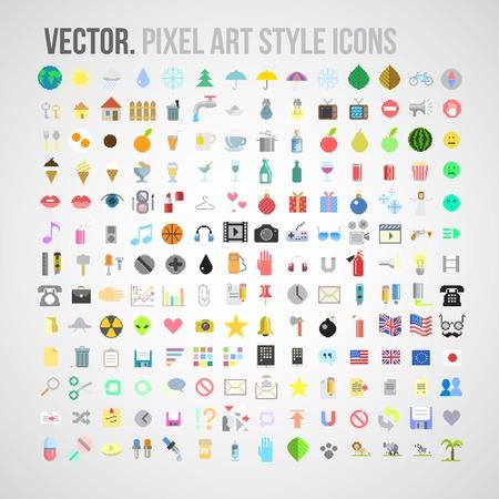 color pixel art style icons set