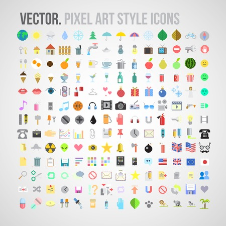 art icons:  color pixel art style icons set