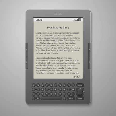 e reader: illustration black cool digital keybord book reader