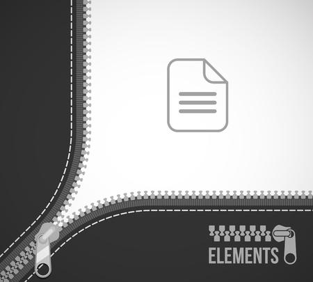 open zip zipper frame border flat style 向量圖像