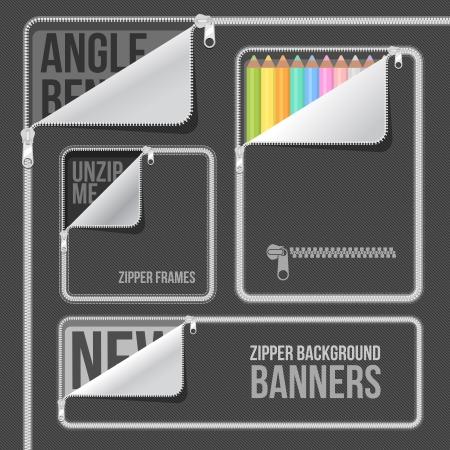 open zip zipper frame border flat style Иллюстрация
