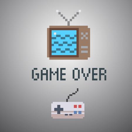 8 bit: m�s de juego, la escuela 8 poster viejo juego poco Vectores