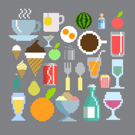 8 bit: pixel art style food and drink set