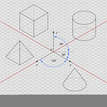 orthographic: isometric orthographic projection grid Illustration