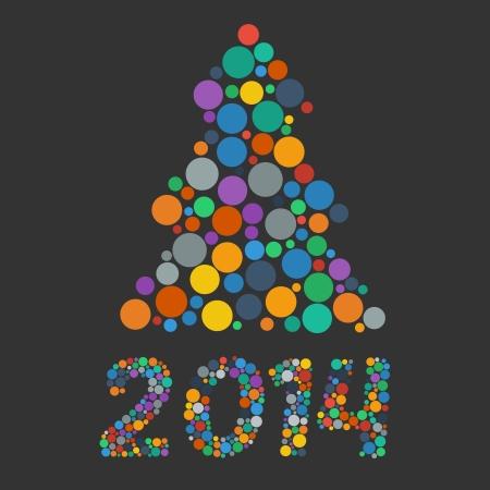평면 색종이 크리스마스 트리 색상 년과 2014 년에 서명