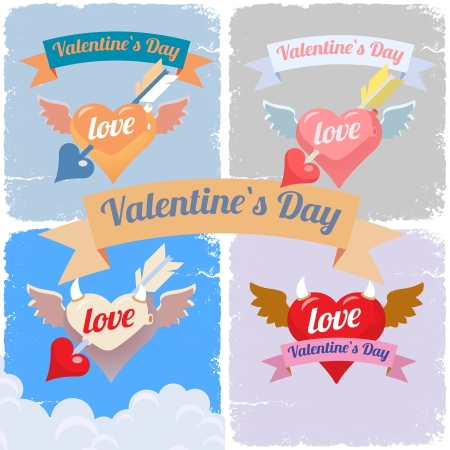 Valentines day, color flying hearts style set Vector