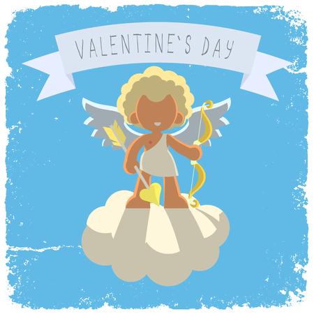 golden hair: cupid, cloud, blue sky, golden hair, vector illustration Illustration
