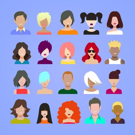 cabello: avatares Icono de conjunto, de dibujos animados de estilo plano ilustración vectorial.