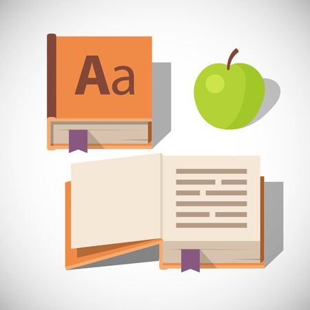 closed book: dictionary book icon, open and closed with green apple icon, cartoon flat style isolated vector illustration on a white background