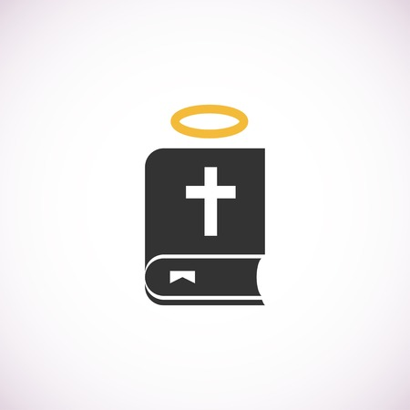 nimbus: bible book icon with nimbus, isolated vector illustration on white background.