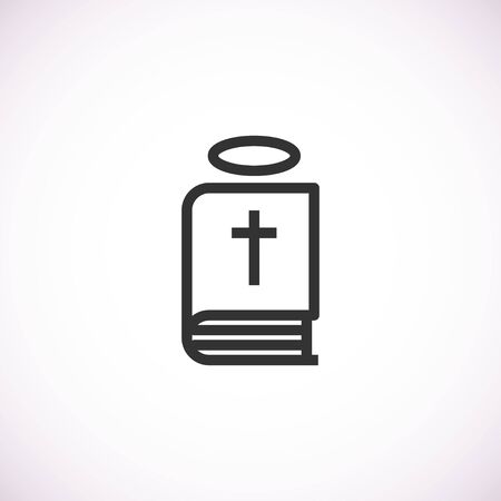 bible icon with halo, isolated vector illustration on white background. Vector