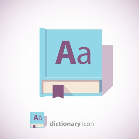 english dictionary: English Dictionary Icon, Blue Color, Isolated on White Background. Vector illustration. Illustration
