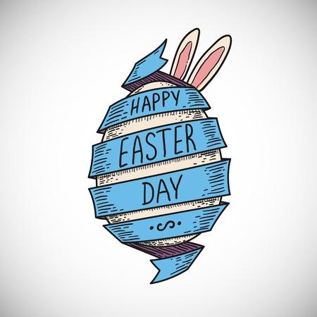 huevos de pascua: cinta azul espiral de color y huevo de Pascua con orejas de conejo, estilo dibujado a mano bosquejada, aislado de color ilustraci�n vectorial icono en el fondo blanco