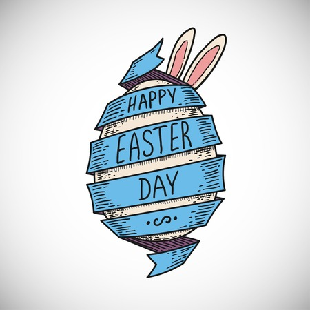 blue color spiral ribbon and Easter egg with rabbit ears, sketched hand drawn style, isolated color vector illustration icon on white background