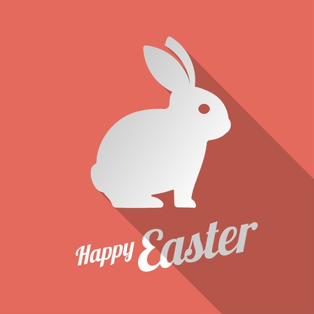 rabbits: White bunny silhouette and Happy Easter sign. Vector illustration icon.