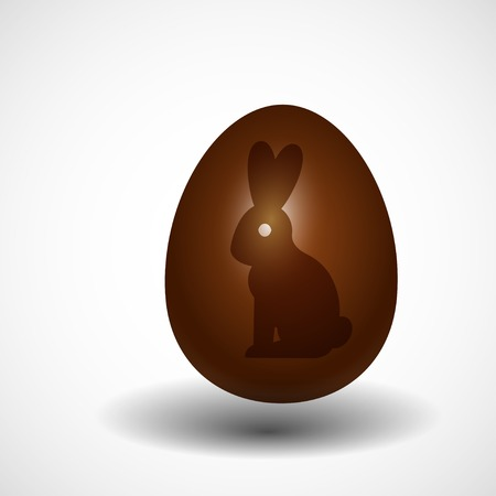 rabbit silhouette: chocolate Easter egg with rabbit silhouette, isolated vector illustration.