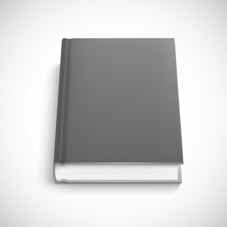 dark grey color hard cover, book template, isolated vector illustration on a white background.