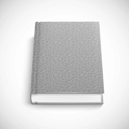 hard cover: book template with grey color lather hard cover, isolated vector illustration on a white background.