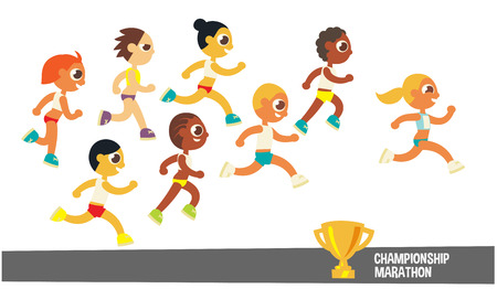 runner: champion runners, cartoon flat style character, vector illustration.