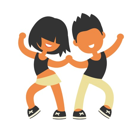 함께 스포티 한 소녀와 소년 춤입니다. 없음 행정 만화 플랫 스타일, 벡터 일러스트 레이 션입니다.