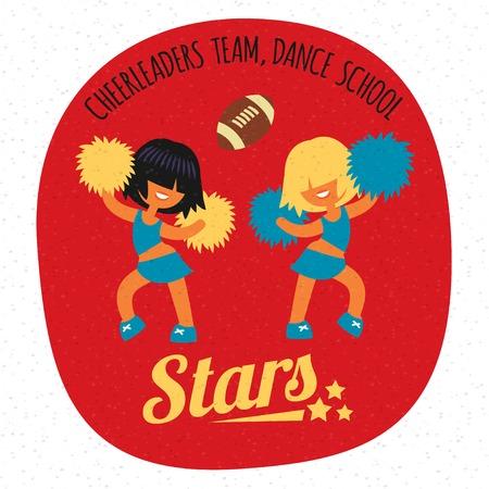 porrista: Peinado corto, sonriendo hermosa deportivo equipo femenino animadora adolescente, bailando con poms. Sin personaje de dibujos animados contorno, la sencillez de estilo plano ilustraci�n vectorial. Vectores