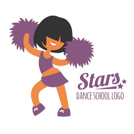 black cheerleader: Smiling beautiful sporty teenager cheerleader girl, dancing with purple color poms, she have black color short hairstyle.  None outline cartoon character, simplicity flat style vector illustration.
