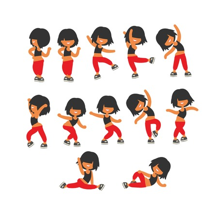 Different poses, sporty dancing girl in red sports pants, black color short hairstyle. Cartoon flat minimalism, kid style character, vector illustration set.