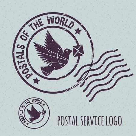 homer: flying dove with envelope, postal postmark template. None stroke, cartoon flat style. Vector illustration.