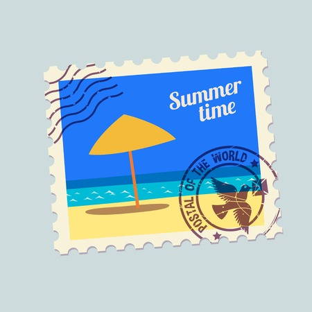 postmark: summertime holidays postmark template. None stroke, cartoon flat style. Vector illustration. Illustration