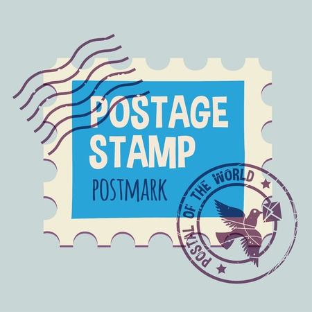 postmark: postmark template. None stroke, cartoon flat style. Vector illustration.