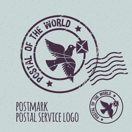 postmark: flying dove with envelope, postal postmark template. None stroke, cartoon flat style. Vector illustration.