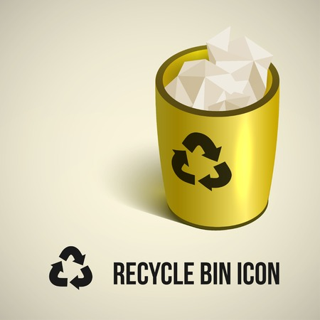 wastepaper basket: realistic yellow recycle bin icon. Vector illustration.